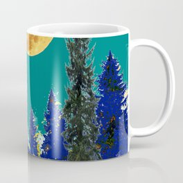 BLUE FOREST TEAL SKY MOON LANDSCAPE ART Coffee Mug