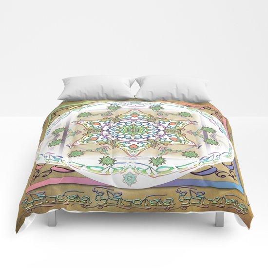 Compassion Mantra Rainbow Mandala Comforters