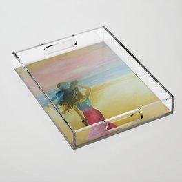 beach walk Acrylic Tray