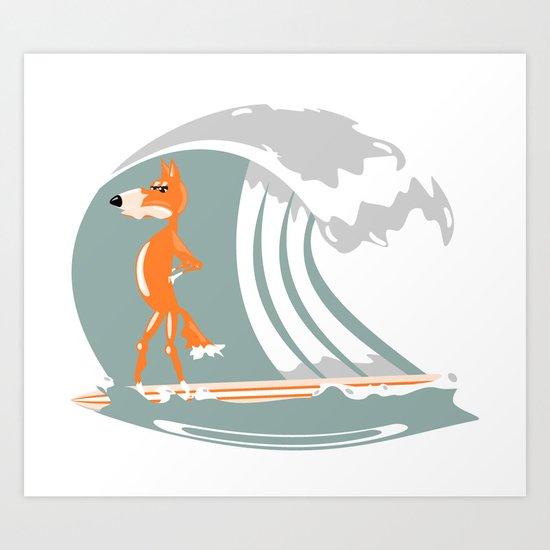 Fox Surfing Art Print