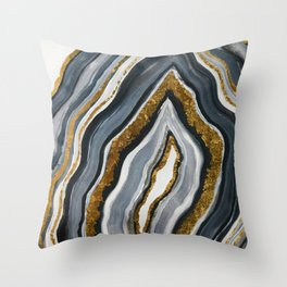 Grey and gold geode Throw Pillow