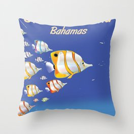 Grand Bahama Retro Plane travel poster Throw Pillow