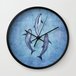 Three Little Vaquitas ~ Watercolor Art ~ (Copyright 2015) Wall Clock