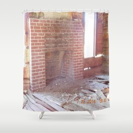 road trip, old cabin interior, fire place Shower Curtain