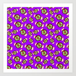 Cute lovely sweet decorative red and green candy pattern on purple background. Art Print