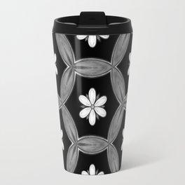 black and white hippie flower pattern Travel Mug