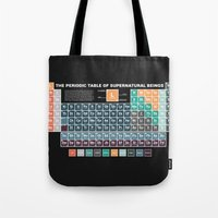 periodic table Tote Bags featuring Periodic Table of Supernatural Beings by Sarah