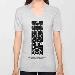 SETI Arecibo Message Radio Transmission Into Space in 1974 with Basic Information About Humanity Unisex V-Neck