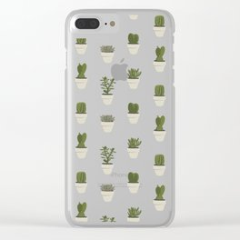 Cacti & Succulents - White Clear iPhone Case