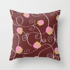 Raspberry Patch Red Throw Pillow