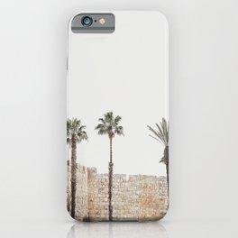 Jerusalem walls photography, Holy Land Israel landscape, palm trees, historic landmark iPhone Case