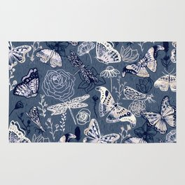 Dragonflies, Butterflies and Moths With Plants on Navy Rug