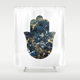 Hamsa in Outer Space Shower Curtain