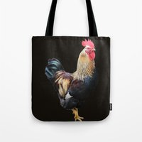 rooster Tote Bags featuring Rooster by Sean Foreman