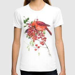 Cardinal Bird and Berries T-shirt