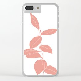 One line plant drawing - Berry Pink Clear iPhone Case
