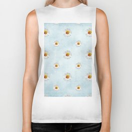 Daisies in love- blue pattern Biker Tank