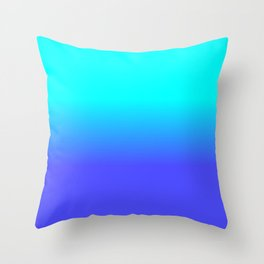 Neon Blue and Bright Neon Aqua Ombré Shade Color Fade Throw Pillow