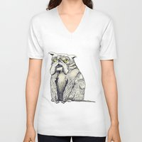 bulldog V-neck T-shirts featuring Bulldog by EstherSepers