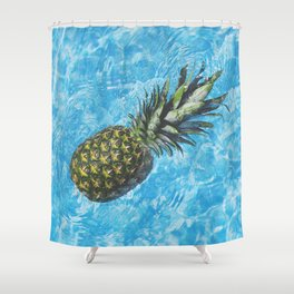 Swimming Pineapple Shower Curtain