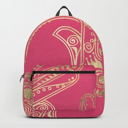 Neon pink faux gold inspirational Hamsa hand of Fatima Backpack