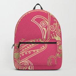 Neon pink faux gold inspirational Hamsa hand of Fatima Backpack
