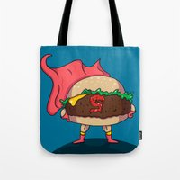 hamburger Tote Bags featuring Hamburger Heroes by Chris Piascik