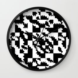 Simple Black and White geometrical Pattern Wall Clock