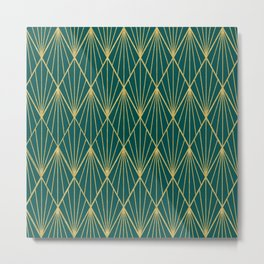 Gold peacock rhombus geometric pattern Metal Print