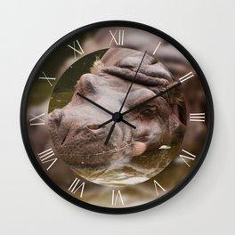 Huge bored hippo Wall Clock