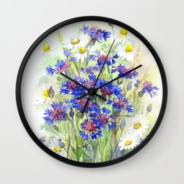 Meadow watercolor flowers with cornflowers Wall Clock
