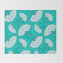 African Floral Motif on Turquoise Throw Blanket
