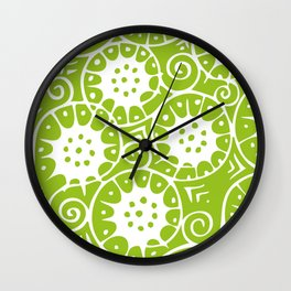 Lime Swirl Pattern | Swirl Pattern | Abstract Patterns | Green and White | Wall Clock
