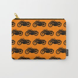 Antique Motorcycle // Orange Carry-All Pouch