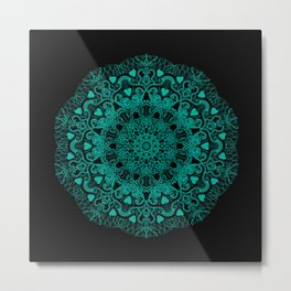 Mandala Project 231 | Teal Green Bohemian Mandaa with Hearts Metal Print