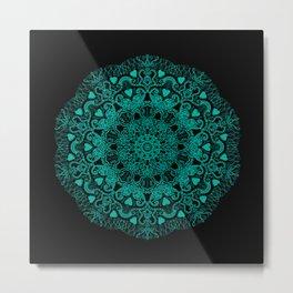 Mandala Project 231 | Teal Green Bohemian Mandaa with Hearts Metal Print