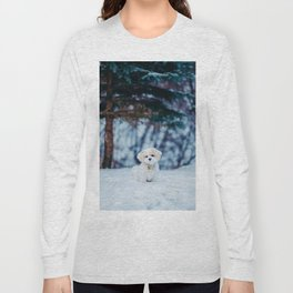 Cute Puppy in the Snow (Color) Long Sleeve T-shirt