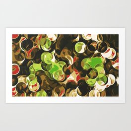brown green and red circle pattern Art Print