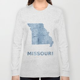 Missouri map outline Light steel blue blurred wash drawing Long Sleeve T-shirt