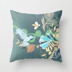 Hummingbird leaf tangle Throw Pillow