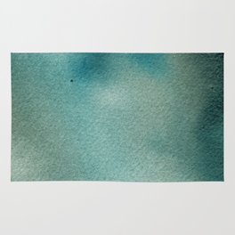 Hand painted blue teal abstract watercolor paint Rug