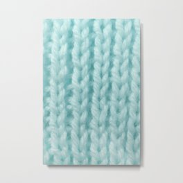 Sky Blue Wool Knitting Texture Metal Print