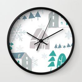 winter holiday houses Wall Clock
