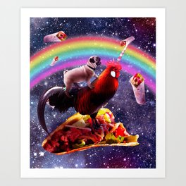Space Pug Riding Chicken Unicorn - Taco & Burrito Art Print