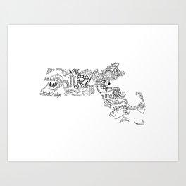 Massachusetts - Hand Lettered Map Art Print