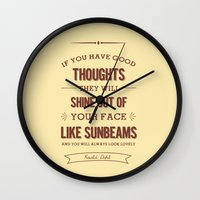 roald dahl Wall Clocks featuring Roald Dahl quote - cream by Dickens ink.