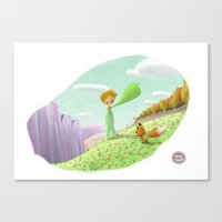 the little prince Canvas Prints featuring LITTLE PRINCE by David Pavon