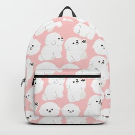 White Bischon Frise - Pink Background Backpack