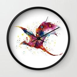 Dragon Art Colorful Watercolor Art Gift Dungeon and Dragons Fantasy Art Kids Gifts Wall Clock
