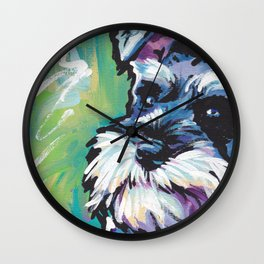Fun Schnauzer Dog Portrait bright colorful Pop Art Painting by LEA Wall Clock